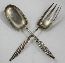 OVAL TWIST WHITING STERLING SILVER SALAD SERVING SET  132.4 grams