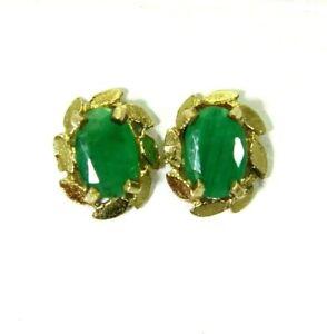 9ct 9k Gold Natural Emerald Stud Earrings