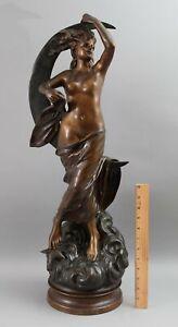 Large Antique 19thC French Art Nouveau Nude Bronze Woman Moon, Stars & Clouds