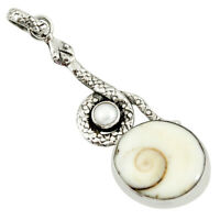 925 Sterling Silver 17.20cts Natural White Shiva Eye Pearl Snake Pendant D38772
