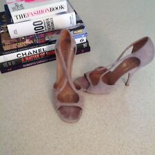 ALAIA Paris Heels 36.5 Gray Suede Strappy Sandal Shoes Open Toe Peep Women's