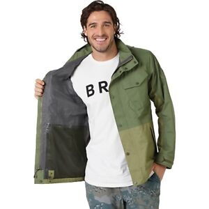 Burton Men's Edgecomb Gore-Tex Jacket M Medium Army Green Clover Aloe Rain Shell