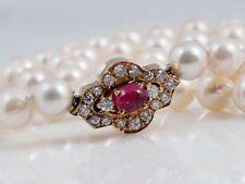 Halsketten und Anhänger mit Rubin echten Akoyaperlen-Zucht