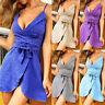 Womens Mini Dress Bandage Deep V-Neck Straps Backless Slim Beach Summer Sundress