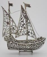 Vintage Solid Silver Italian Made LARGE British Galleon Ship, Hallmarked