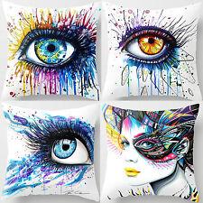4 Pcs 18'' Super Soft Cotton Velvet Colorful Eyes Pillow Case Cushion Cover 4rc1