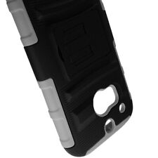For HTC One (M8) Stand Gray Black Hard Soft Case + Belt Clip Holster Cover