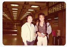 Vintage 80s PHOTO Pair Asian Men Guys at Airport