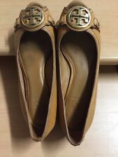 1818b8f499b8 Tory Burch Womens Shoes Size 7 tan Solid Leather Open Toe Wedge Heels
