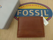 FOSSIL Tri-fold Wallet LUFKIN Int Traveler Brown Leather Coin Wallets Tin RRP£55