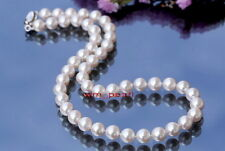 "AAAAA Luster 18""9-10mm REAL NATURAL round south sea white pearl necklace 14K"