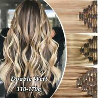 170G CLIP IN REMY HUMAN HAIR EXTENSIONS DOUBLE WEFT Real Thick Ombre Balayage US