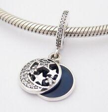 NIGHT MOON & STARS DANGLE CHARM Bead Sterling Silver.925 4 European Bracelet 543