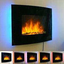 Slim LED Back Lit Glass Wall Mounted Fireplace Heater Flame Effect Electric Fire