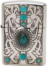 Zippo Lighter Armor Indian Spirit Kokopelli Silver Plating Turquoise Japan New