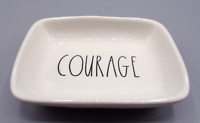 Rae Dunn COURAGE Small Trinket Dish Bowl Artisan Collection White Ivory Dish