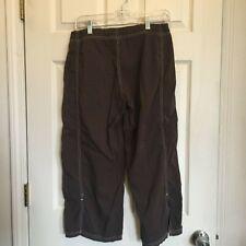 PrAna Breathe Womens Cropped Capri Pants Brown Drawstring Nylon Stretch Sz small