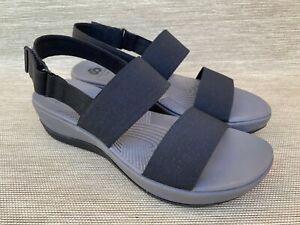 Clarks Cloud Steppers Women's Black Elastic Sandals, Size 9 M