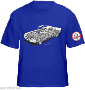 FORD MUSTANG SHELBY COBRA GT350 CUT OUT DESIGN T SHIRT BLUE size Medium