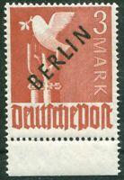 Berlin 19 sauber postfrisch UR dgz Unterrandstück Schwarz Aufdruck 1948 MNH