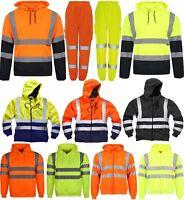 Hi Viz Vis Hoodie workwear Safety Hooded Sweatshirt Security Jacket Reflective