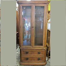 Martinsville of America Pecan China Cabinet w/ Two Drawers Vintage 1970/80s