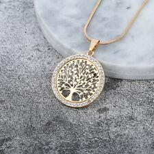 Silber Gold Rosegold Damen Halskette Lebensbaum Anhänger Kristall Zirkonia kette