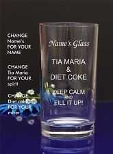 Personalised Engraved Hi ball spirit TIA MARIA AND DIET COKE glass by jevge 7