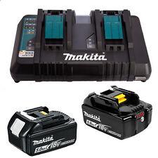 Genuine Makita 18V Cordless 5Ah Battery Dual Rapid Charger 5AMP Batteries Kit
