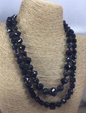 Vintage Necklace W Germany Glass Black & Brass 2 Strand Mourning Choker Cluster