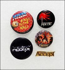 Accept Lot Of 4 Original 80's Buttons Badges & Logo Pin / Balls To The Wall