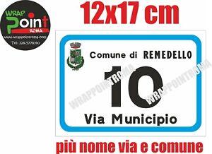 Numeri civici numero civico ALLUMINIO DIBOND RIFRANGENTE stemma comune 12x17 cm