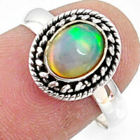 2.42cts Natural Ethiopian Opal 925 Sterling Silver Solitaire Ring Size 8 R64558