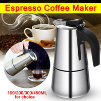 Silver Mocha Espresso Latte Percolator Stove Stainless Steel Coffee Maker Pot