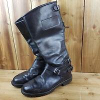 Vintage Frank Thomas Black Leather Motorcycle Boots FT7 Size UK 7 England Made