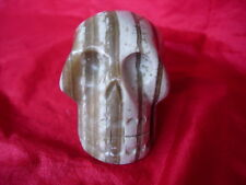 Crystal skull honey-beige striped aragonite ncs 10  new stone!