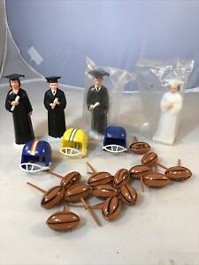 Vintage Plastic Cake Toppers Graduation 3 Black Gowns 1 White Gown Footballs