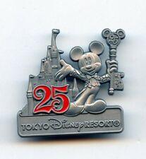 Disney 25th Tokyo Disneyland Castle Mickey Mouse Key to Kingdom Pewter Pin