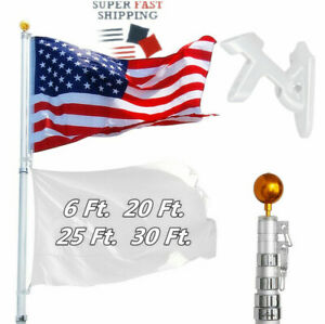 6/20/25/30Ft Flagpole Aluminum Telescopic Flag Pole Kit with US Flag Gold Ball