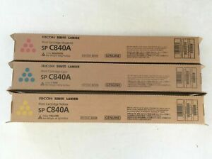 (3)Genuine Ricoh Savin Lanier 821256 821257 821258 CMY SP C840A Print Cartridges