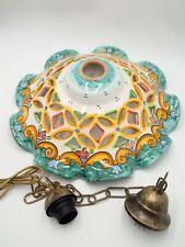 Lampadario In Ceramica Vietrese Traforato, Interamente Fatto e decorato A Mano