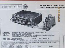 MOPAR OEM 1950's Chrysler Motorola Model 840 844 844HR Radio Photofact Folder