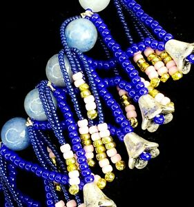 """EXOTIC Shades of Blue Necklace Boho Beaded Statement 16"""" Ann Taylor FESTIVAL"""