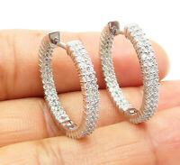 925 Sterling Silver - Sparkling Topaz Shiny Round 2 Row Hoop Earrings - E5951