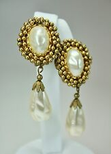 "Vintage Miriam Haskell Earrings Clip On Faux Baroque Pearl Drop Dangle 2""+Height"