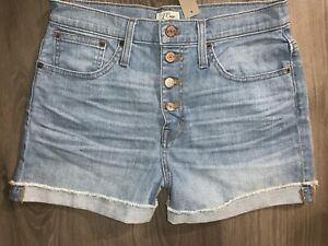 NWT J Crew High Rise Denim Shorts with Exposed Button Fly H6972 Size 28