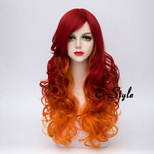 Lolita 65CM Red Mixed Orange Long Curly Fashion Women Ombre Cosplay Party Wig