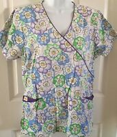 Women's Scrub Top Purple Floral Print Size XS Ties/Gathered in Back by Denice