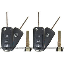 2 New OEM VW Remote Flip Key Keyless Entry Fob Transmitter Uncut Ignition Blade