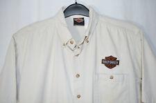 Harley-Davidson Shirt Cotton Lt Tan/Khaki Button Front SS Made in USA Men's L